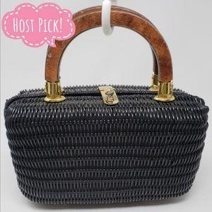 Vintage Glazed Wicker Handbag by MAGID